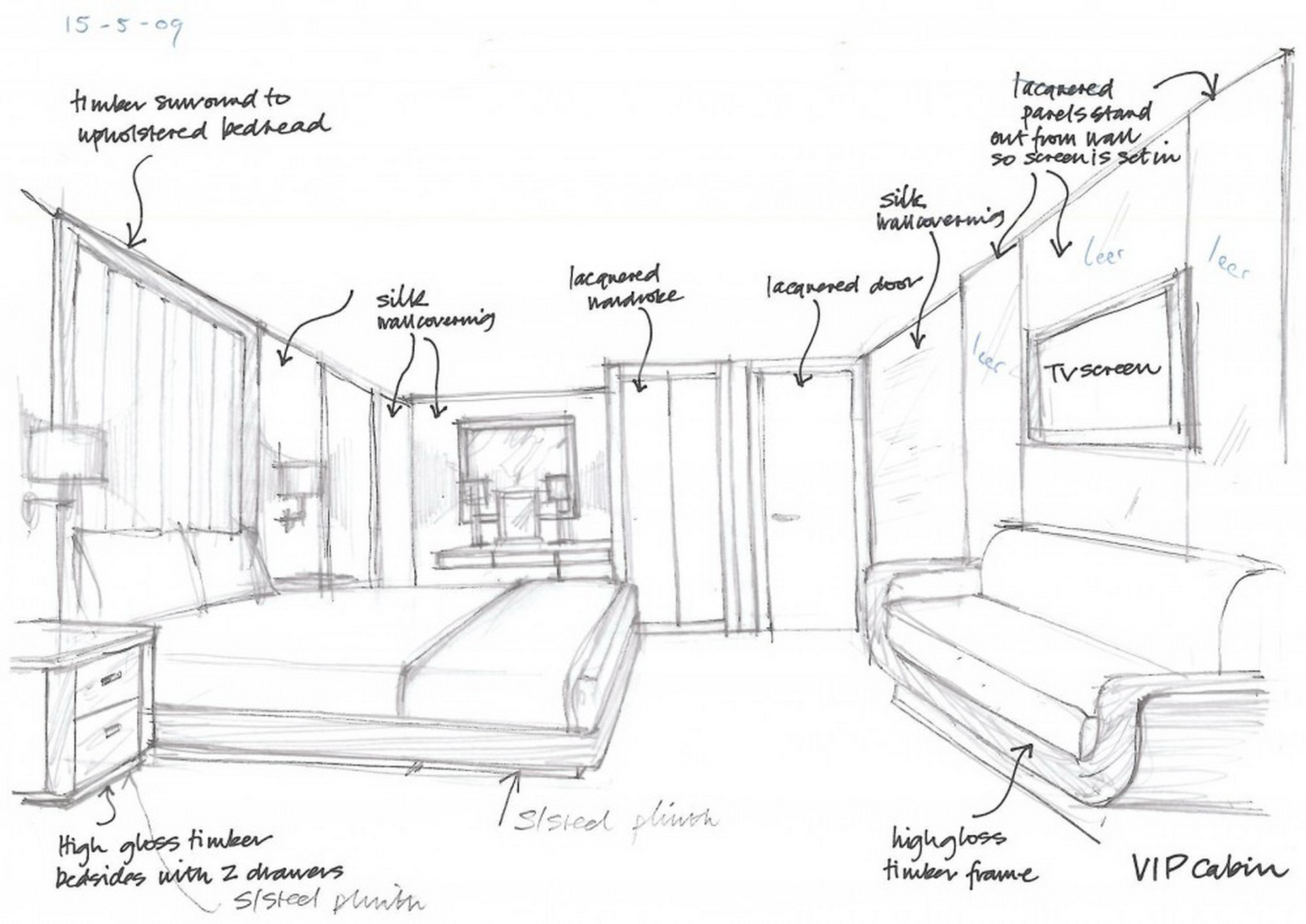 Interior design olivier van meer design naval architect for Interior designs sketches